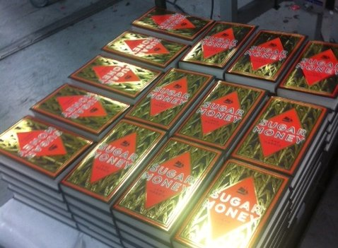 pallet of copies of Sugar Money by Jane Harris